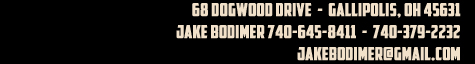 Bodimer Bros. Showpigs: 68 Dogwood Drive Gallipolis, OH 45631  Jake Bodimer 740-645-8411 or 740-379-2232
